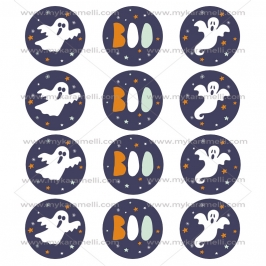 Juego 12 Impresiones Papel de Azúcar Boo Halloween 6 cm