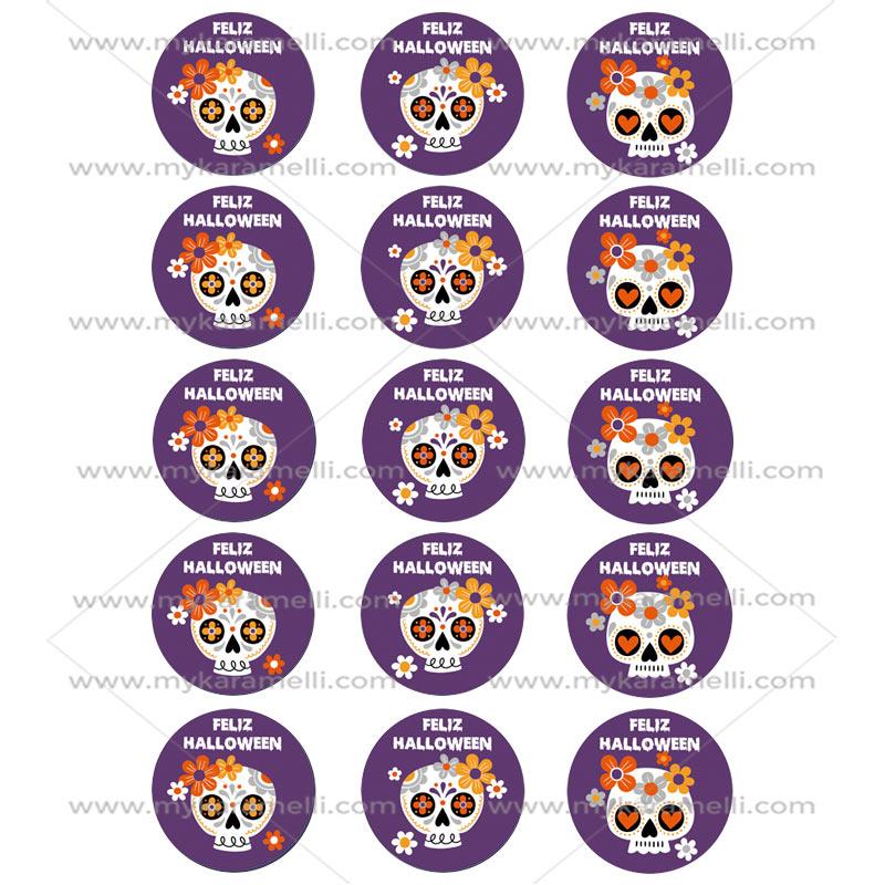 Juego 15 Impresiones Papel de Azúcar Catrinas Halloween 5 cm