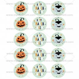Juego 15 Impresiones Papel de Azúcar Happy Halloween 5 cm