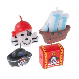 Juego 4 Mini Velas Piratas