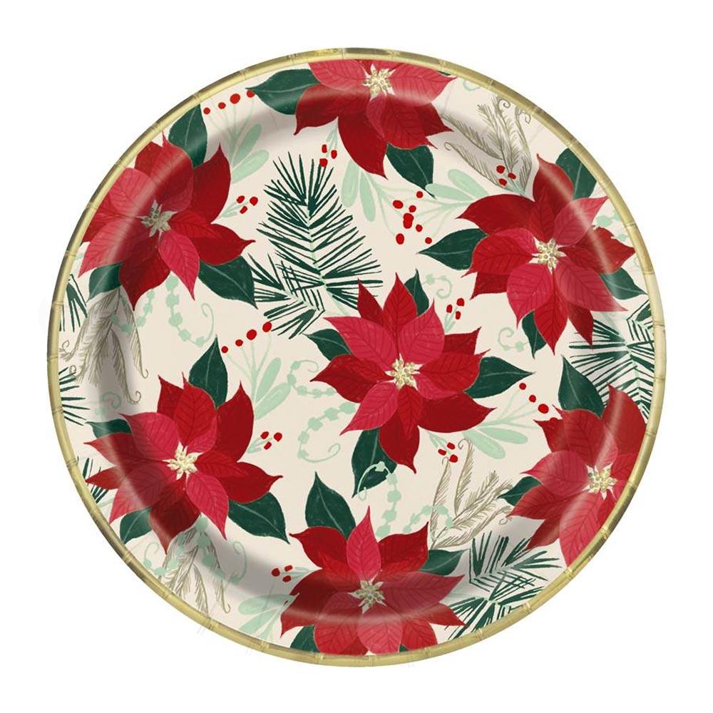 Juego 8 Platos Flor de Pascua 22 cm