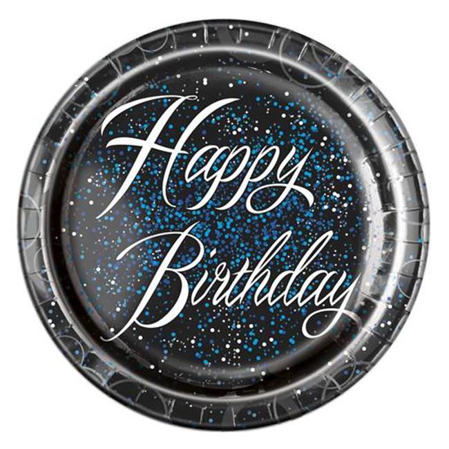 Juego 8 Platos Happy Birthday Azul 22cm