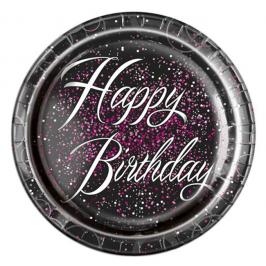 Juego 8 Platos Happy Birthday Rosa 22cm