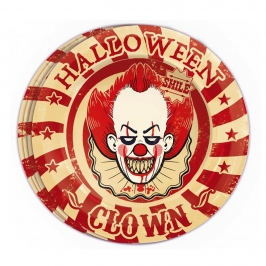 Juego 8 Platos Payaso Halloween 23 cm