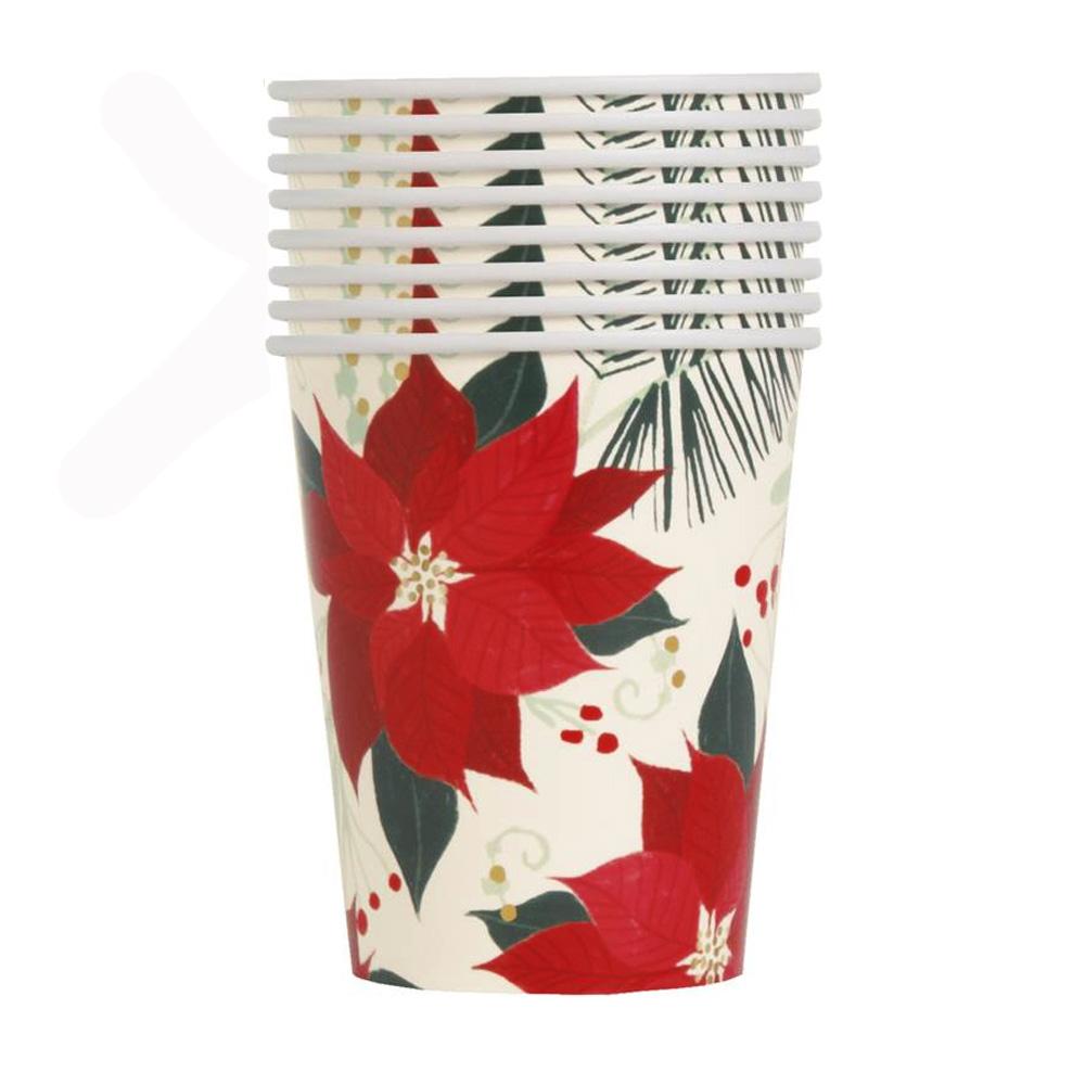 Juego 8 Vasos Flor de Pascua 270 ml