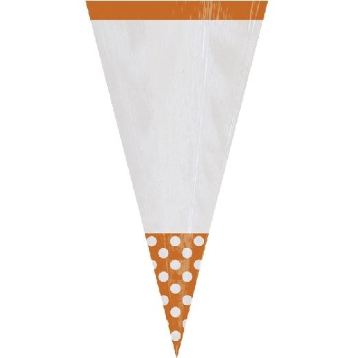 Juego de 10 conos para dulces Naranja y blanco