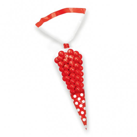 Juego de 10 conos para dulces rojo y blanco