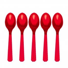 Juego de 10 Cucharas de Plástico Rojas