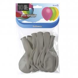 Juego de 10 globos de látex gris mate de 30 cm