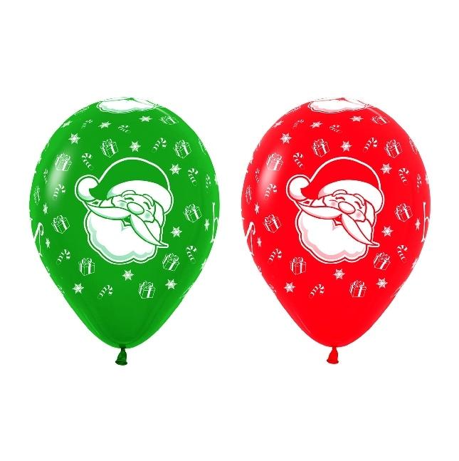 Juego de 10 Globos Navidad Verdes y Rojos