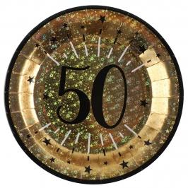 Juego de 10 Platos Dorados 50 Cumpleaños 22 cm