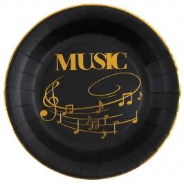 Juego de 10 Platos Negros Música