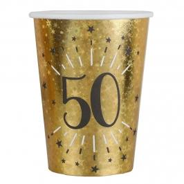 Juego de 10 Vasos Dorados 50 Cumpleaños