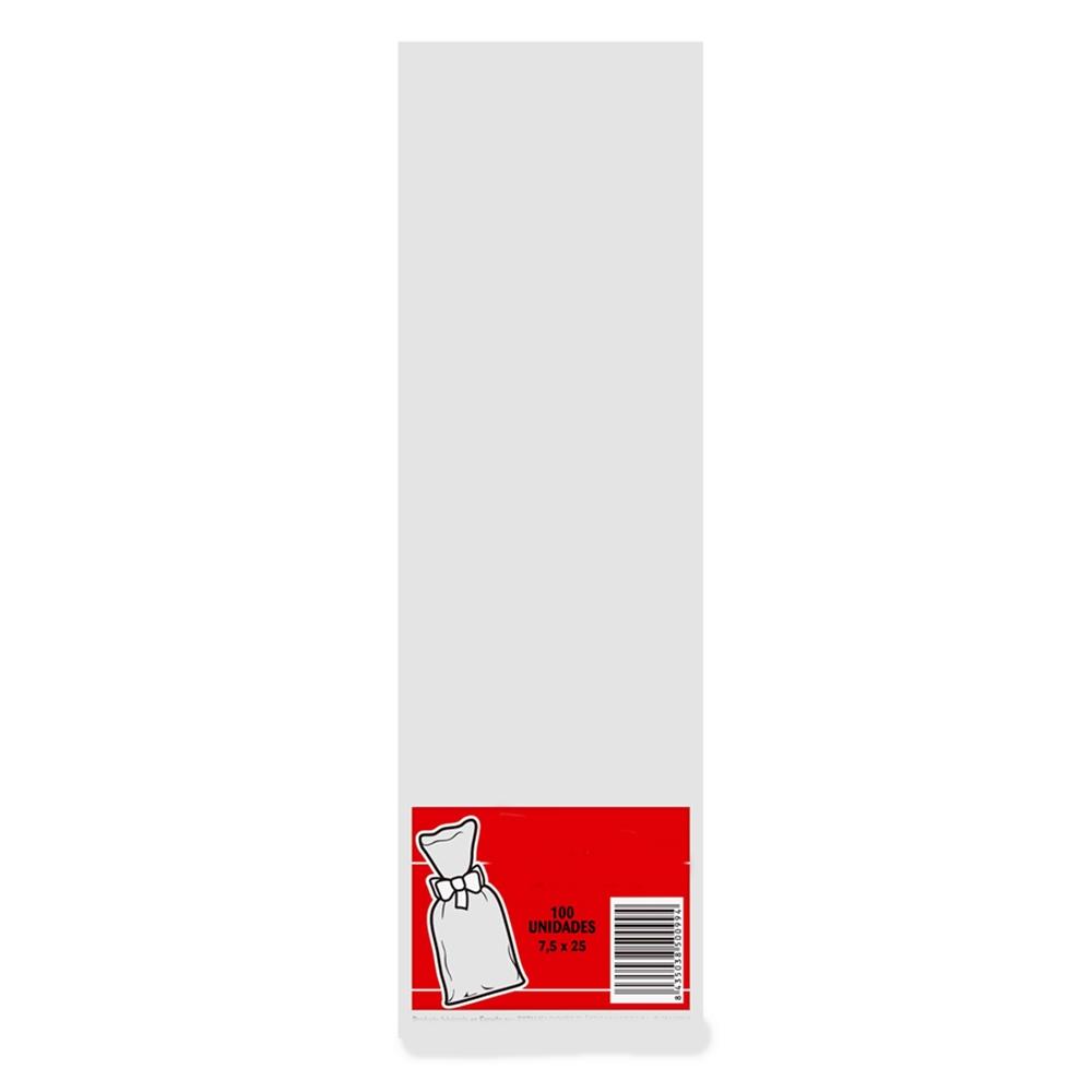 Juego de 100 Bolsas Transparentes 7,5 cm x 25 cm