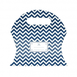 Juego de 12 cajitas  de cartón para dulces en tonos azul marino y blanco