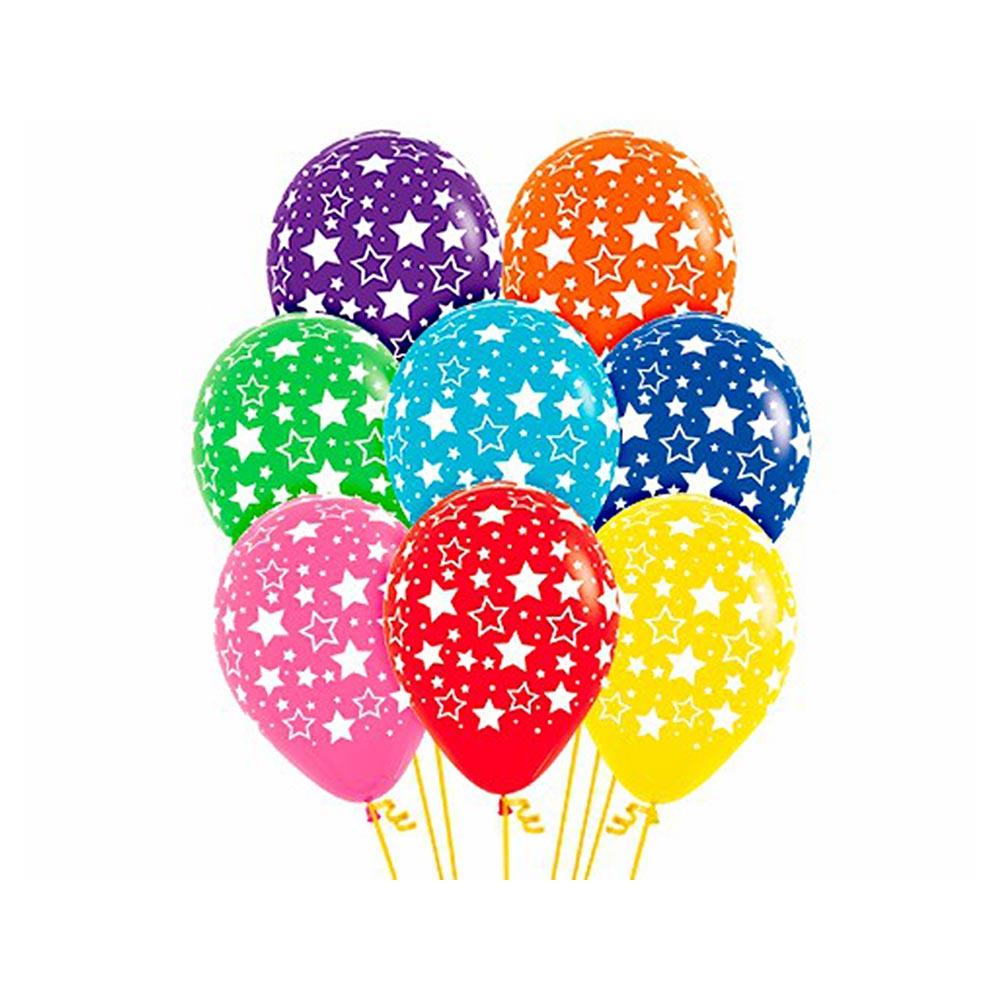 Juego de 12 globos con estrellas de diferentes colores de 30 cm