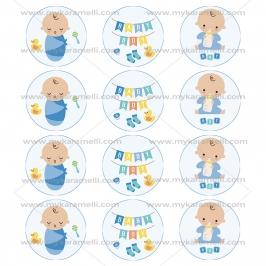 Juego de 12 Impresiones en Papel de Azúcar Baby Boy Modelo A 6 cm