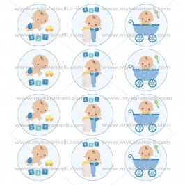 Juego de 12 Impresiones en Papel de Azúcar Baby Boy Modelo B 6 cm