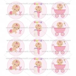 Juego de 12 Impresiones en Papel de Azúcar Baby Girl Modelo B 6 cm