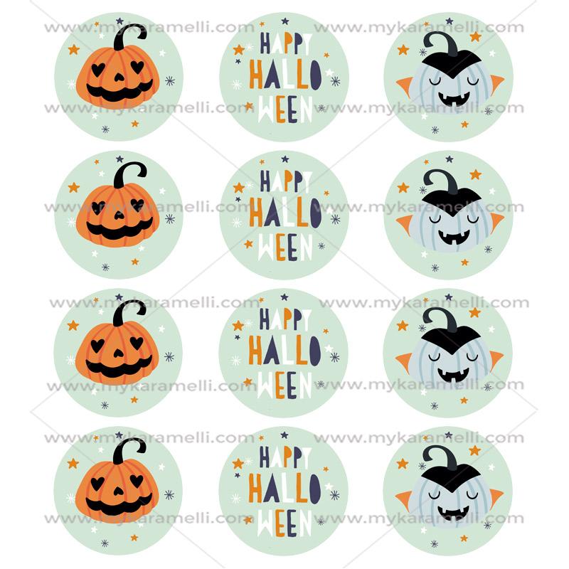 Juego de 12 Impresiones en Papel de Azúcar Happy Halloween 6 cm