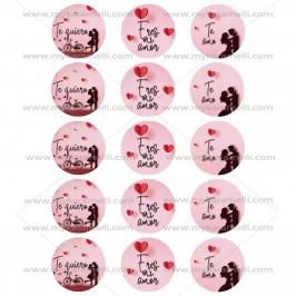 Juego de 12 Impresiones en Papel de Azúcar San Valentín Modelo C 5 cm