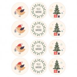 Juego de 12 Impresiones en Papel de Azúcar Feliz Navidad