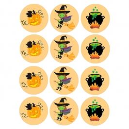 Juego de 12 Impresiones en Papel de Azúcar Halloween Modelo B