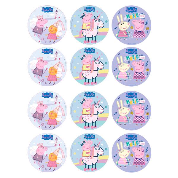 Juego de 12 Impresiones en Papel de Azúcar Peppa Pig