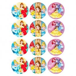 Juego de 12 Impresiones en Papel de Azúcar Princesas