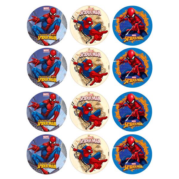 Juego de 12 Impresiones en Papel de Azúcar Spiderman