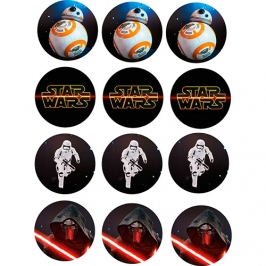 Juego de 12 impresiones en Papel de Azúcar Star Wars