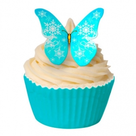 Juego de 12 obleas Mariposas azul Copo de Nieve