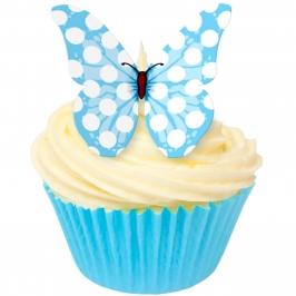 Juego de 12 Obleas Mariposas Azules con Lunares