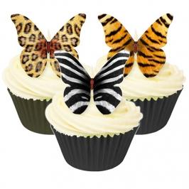 Juego de 12 obleas Mariposas estampado Animal