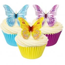 Juego de 12 obleas Mariposas Multicolores