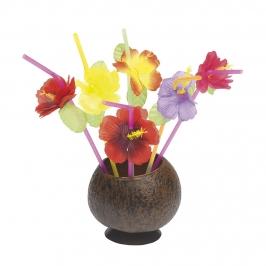 Juego de 12 Pajitas Flores Hawaianas