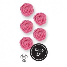 Juego de 12 rosas de azúcar en color rosa