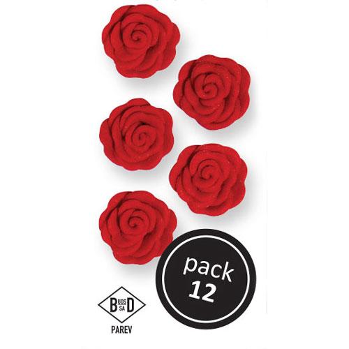 Juego de 12 rosas de azúcar en color rojo