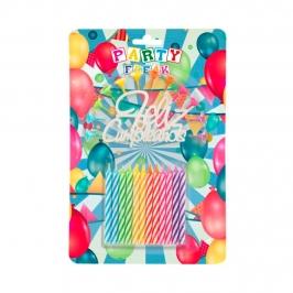 Juego de 12 Velas Feliz Cumpleaños Multicolor