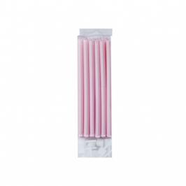 Juego de 12 velas rosa perlado 10cm