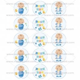 Juego de 15 Impresiones en Papel de Azúcar Baby Boy Modelo A 5 cm