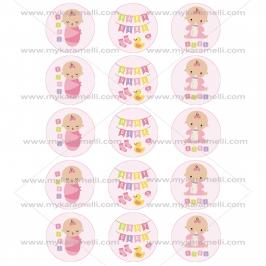 Juego de 15 Impresiones en Papel de Azúcar Baby Girl Modelo A 5 cm