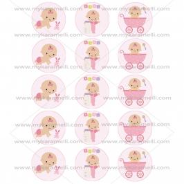 Juego de 15 Impresiones en Papel de Azúcar Baby Girl Modelo B 5 cm