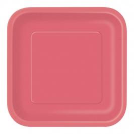 Juego de 16 Platos Cuadrados Rojos 17 cm