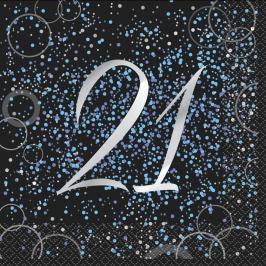 Juego de 16 Servilletas 21 Cumpleaños Azul