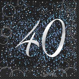 Juego de 16 Servilletas 40 Cumpleaños Azul