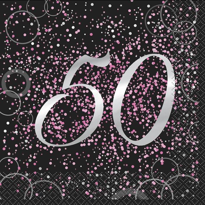 Juego de 16 Servilletas 50 Cumpleaños Rosa