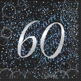 Juego de 16 Servilletas 60 Cumpleaños Azul