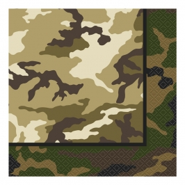 Juego de 16 servilletas Camuflaje Militar