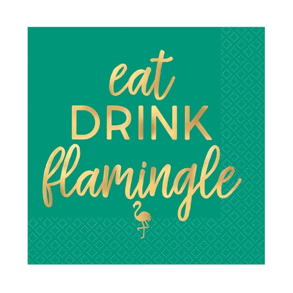 Juego de 16 Servilletas Cocktail Flamingle